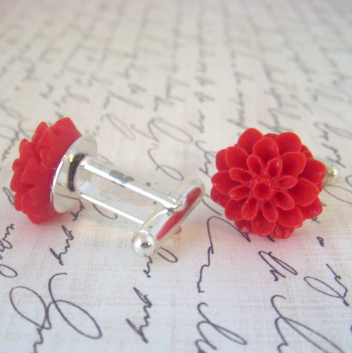 Red Chrysanthemum Cufflinks