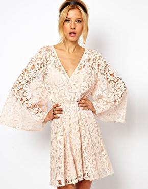 ASOS Lace Kimono Sleeve Dress