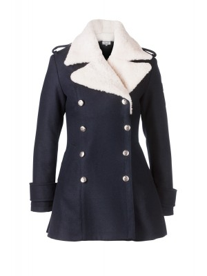 Pea Coat with Shearling Collar
