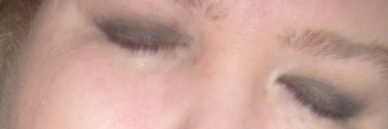 dark eye shadow buffed out