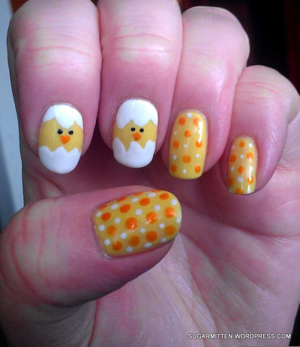 Hatching Chicks easter nail art