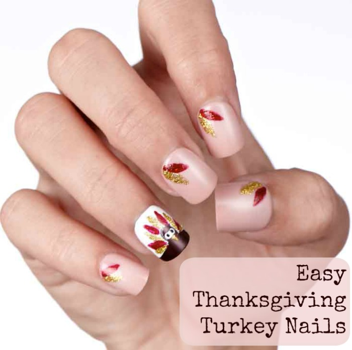 Easy diy turkey and feathers nail art tutorial style on main easy thanksgiving turkey nails prinsesfo Choice Image