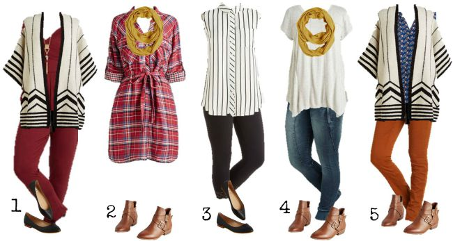 Modcloth Mix and Match wardrobe Summer to Fall 1-5