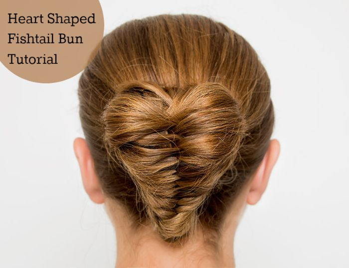 heart shaped fishtail braid bun tutorial