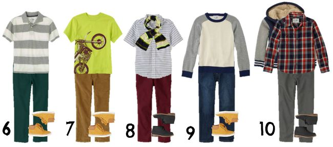 Boys mix and match Fall wardrobe 6-10