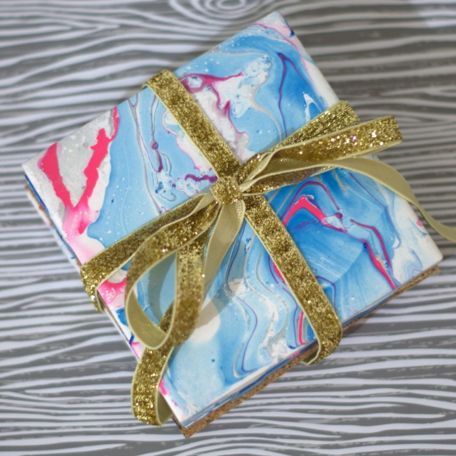 nail polish marbled coasters square