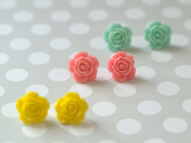spring rose flower cab earrings tutorial final