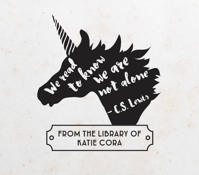 Unicorn bookplate stamp from east grove stamp co