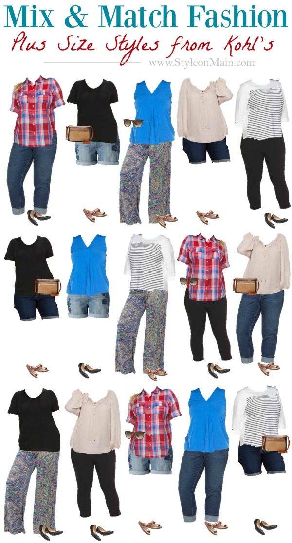 It's time to shake up your closet for summer. Check out this Mix and Match Capsule fashion wardrobe for plus sized fashionistas. All the pieces used are from Kohls, too. So you know they're easy to get and affordable.