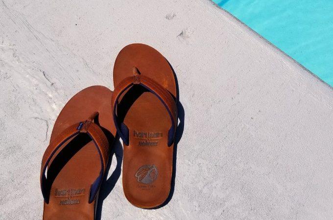 Hari Mari X Nokona Flip Flops at the pool
