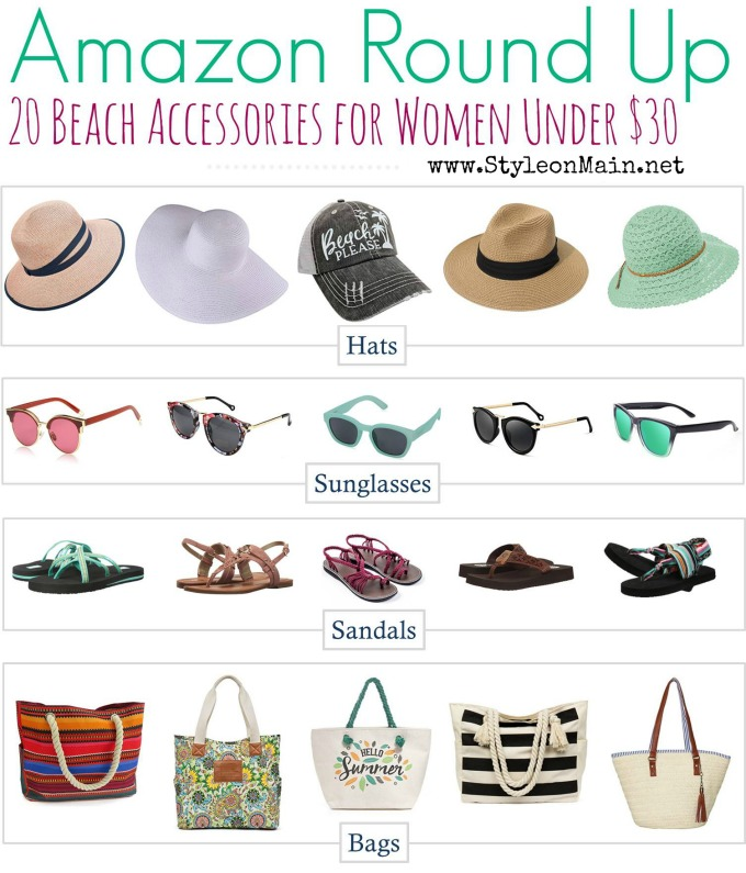 Must have fashion beach essentials under $30. Most have Amazon Prime shipping, too! #shoes #summer #sunglasses #fashion #budgetfriendly