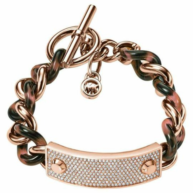 Michael Kors pave tortoiseshell rose gold chain bracelet