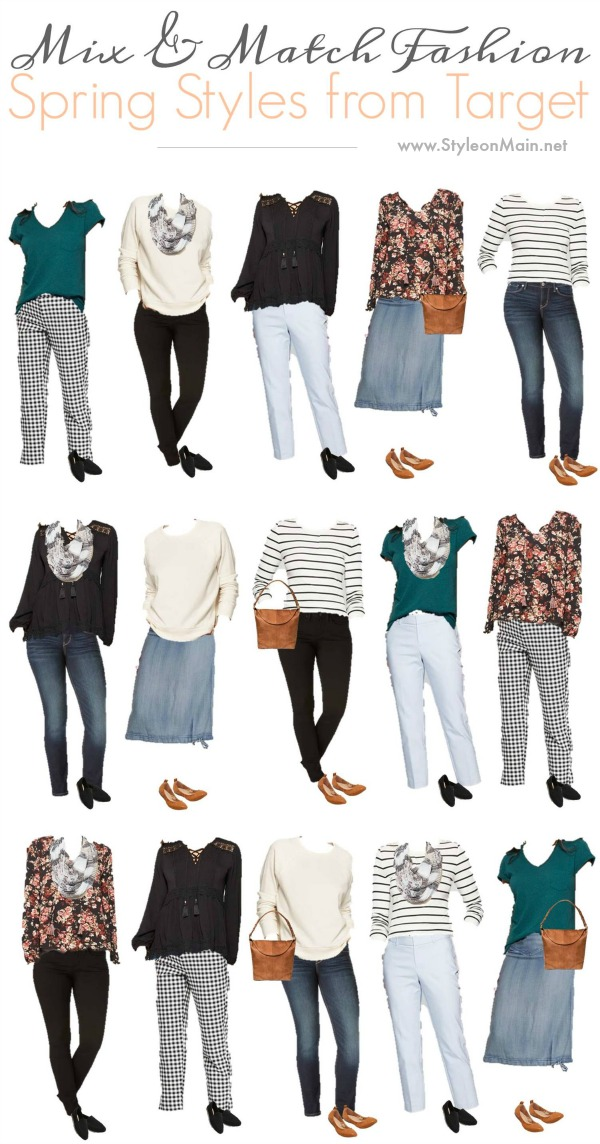 Update your spring wardrobe with this great Mix and Match outfits from Target. Be in style without breaking the budget |Affordable fashion | style | casual capsule | clothes | Spring 2019 #fashion #casualfashion