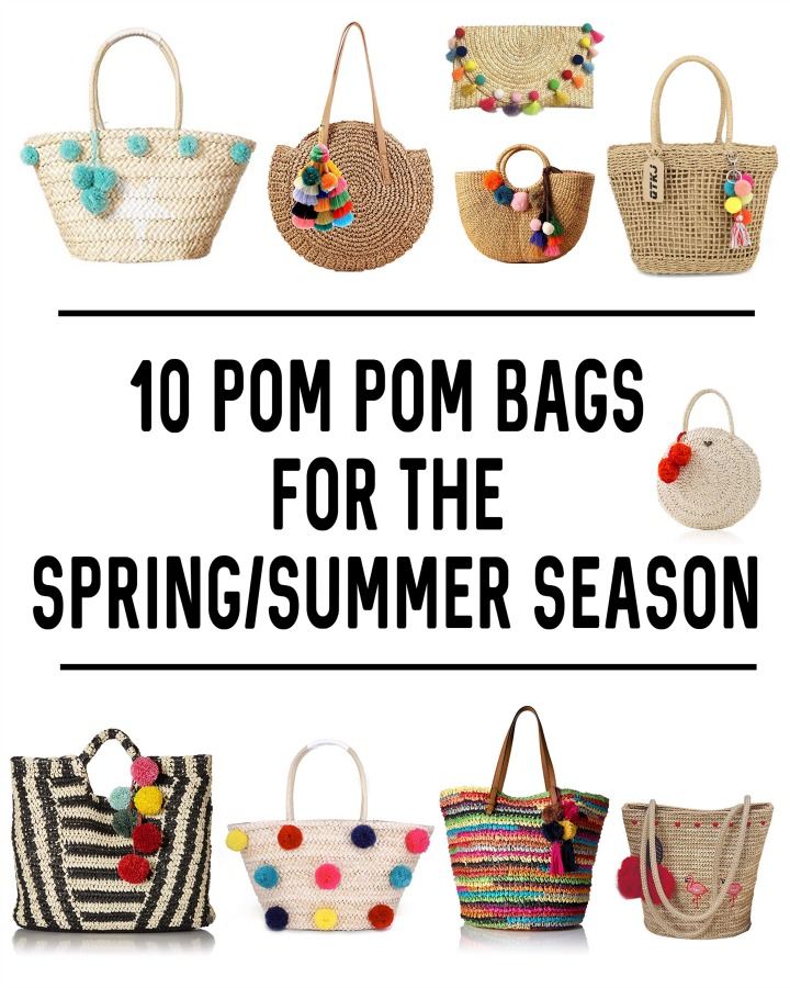 Must have pom pom bags for Spring and Summer 2019. Bonus - they're all available from Amazon. Pom pom bags are a must have fashion piece and are so in style. | Accessories | Pom poms | straw | wicker | rattan | woven | beach bag | tote | purse | handbag