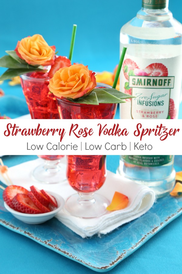 Low calorie Strawberry Rose Vodka Spritzer cocktail | Easy to make keto friendly drink | WW Zero point alcoholic drink recipe | Weightwatchers | Weight Watchers | Freestyle | Low cal | Brunch | Wedding | Bridal Shower
