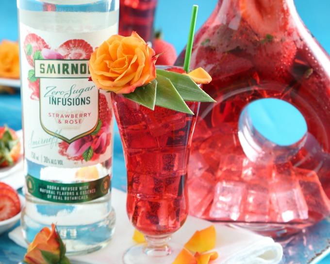 Low calorie low carb strawberry rose vodka spritzer drink recipe