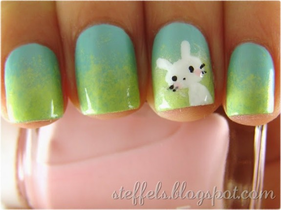 Gradient with bunny easter nail art
