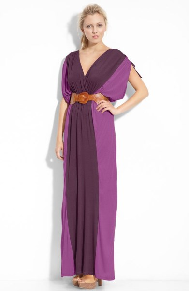 Belted Purple Maxi Dress
