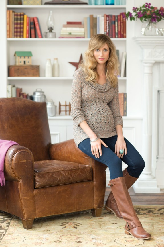 Jessica-Simpson-Maternity-Space-Dye-Pointelle-Sweater-$59.00;-Stretch-Rinse-Jean-$59.00 (575 x 862)