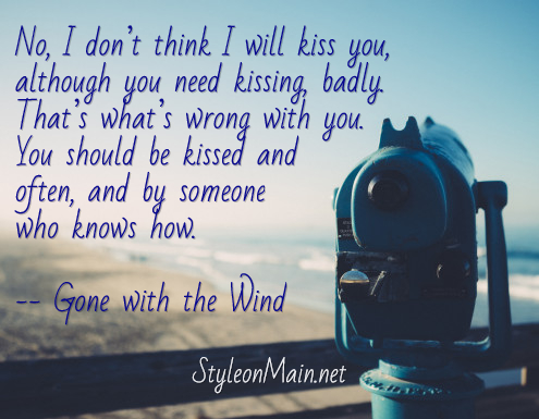 Gone with the wind kissing quote