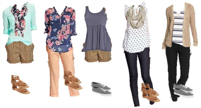 Old Navy Mix Match Wardrobe 1-5