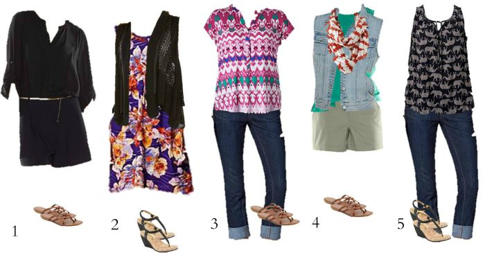 Kohls Mix and Match summer wardrobe 1-5