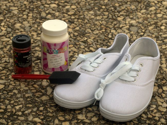 diy glitter sneakers supplies