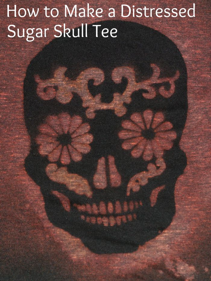 distressed sugar skull tee