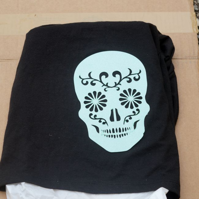sugar skull stencil on shirt