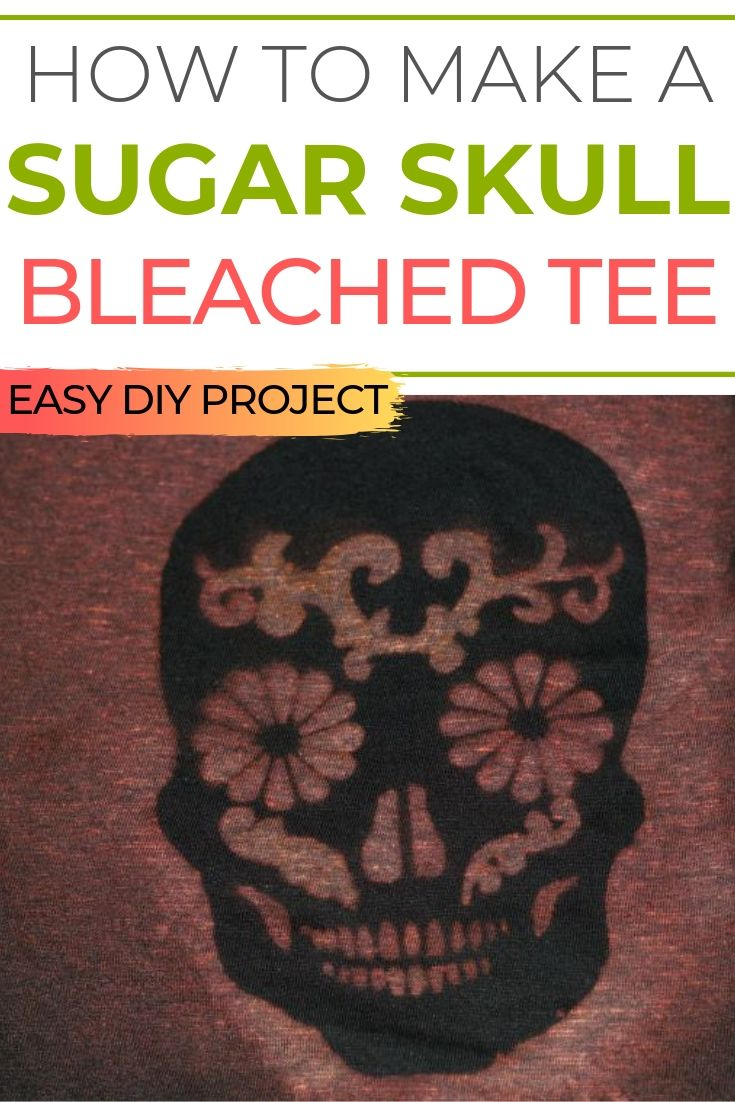 How to make a sugar skull distressed tee shirt with bleach
