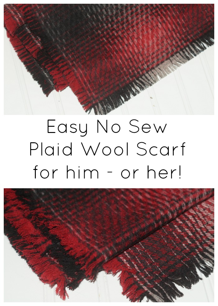 Easy no sew plaid wool scarf for him