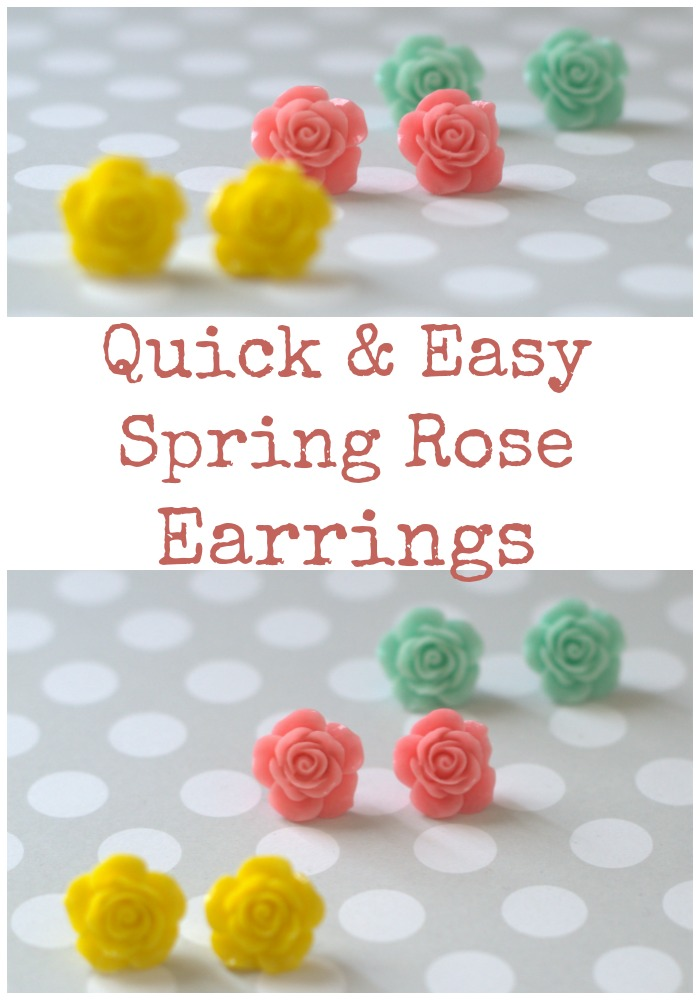 How to make quick and easy spring rose flower cab earrings