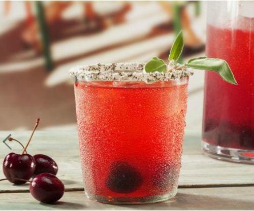 Cherry Sage Smash Cocktail