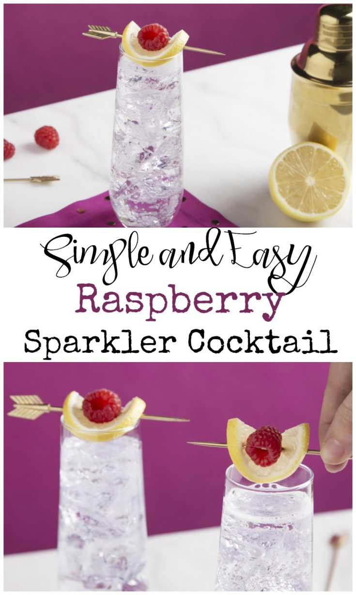 Simple and easy Raspberry Sparkler Cocktail recipe. This drink is great for brunch, a wedding, a bridal shower, or any time you want something a little special. | Alcoholic