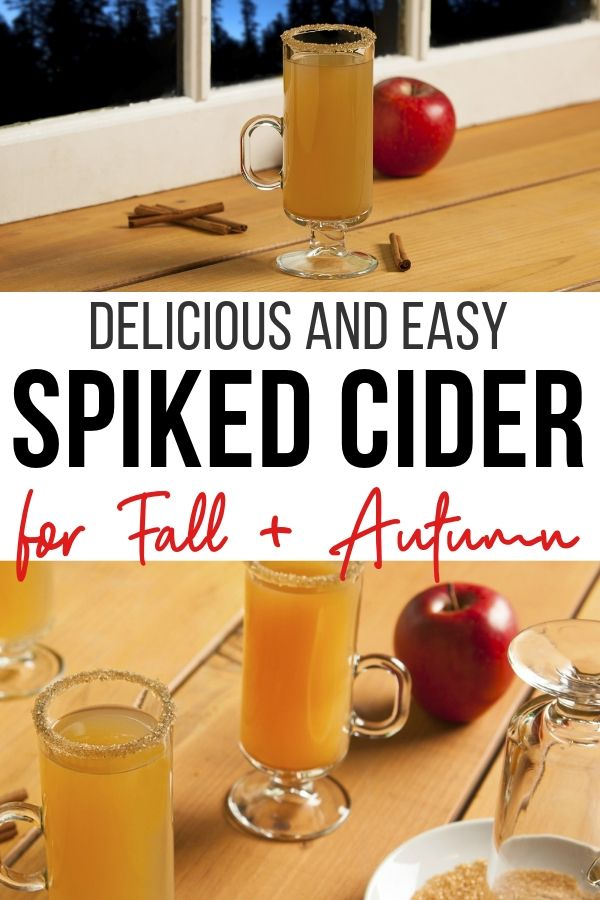 Simple and delicious spiked apple cider cocktail recipe. Can be made as a non alcoholic drink too