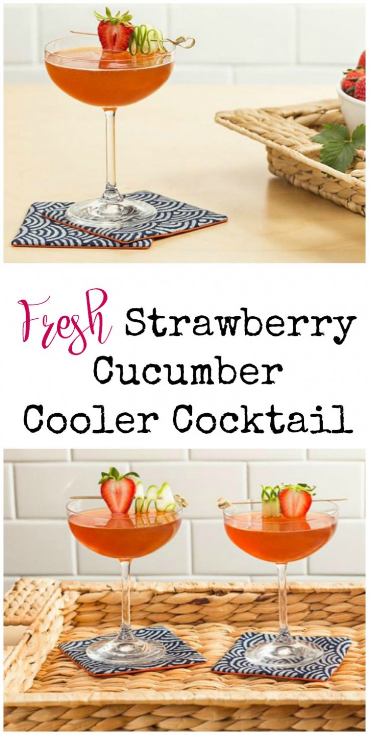 Try this fresh Strawberry Cucumber Cooler cocktail this summer. A delicious drink recipe that's unique, and so tasty. Makes a great brunch recipe, or a custom wedding cocktail, too.
