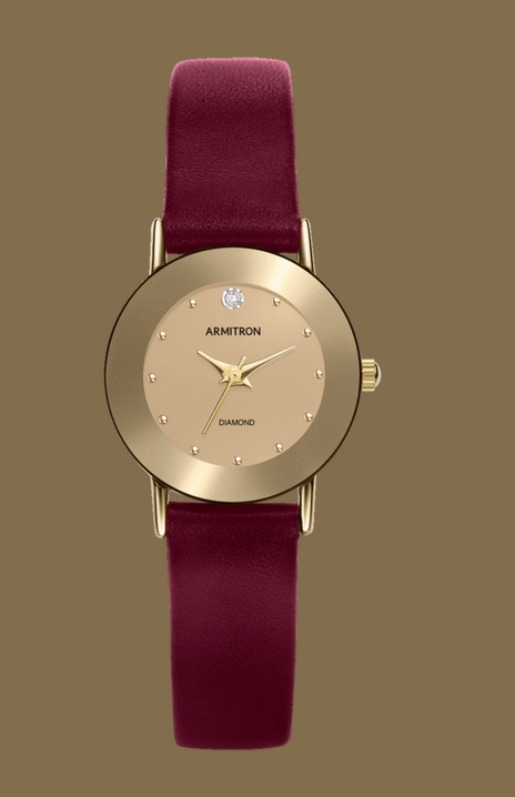Armitron Gold plated watch with burgundy leather strap