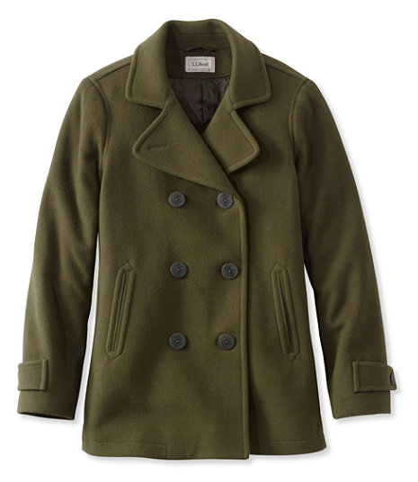Loden Green wool peacoat from LL Bean