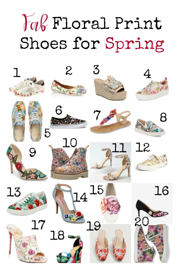Flowers and floral prints are in for Spring 2018. Get ahead of the trend cycle with these fun and fab floral print shoes. There's something for everyone, from casual to dressy and bargain to ballin.