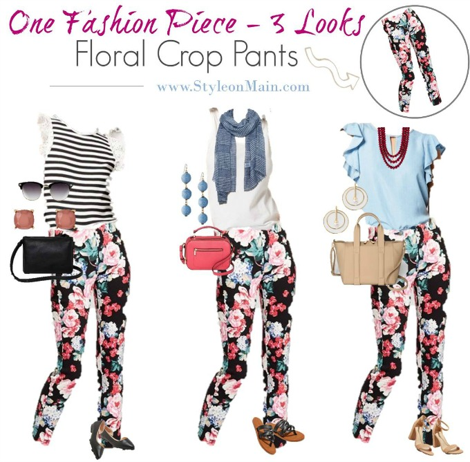 Floral pants are so in for spring! See how to freshen up your wardrobe by styling these cropped pants three different ways.