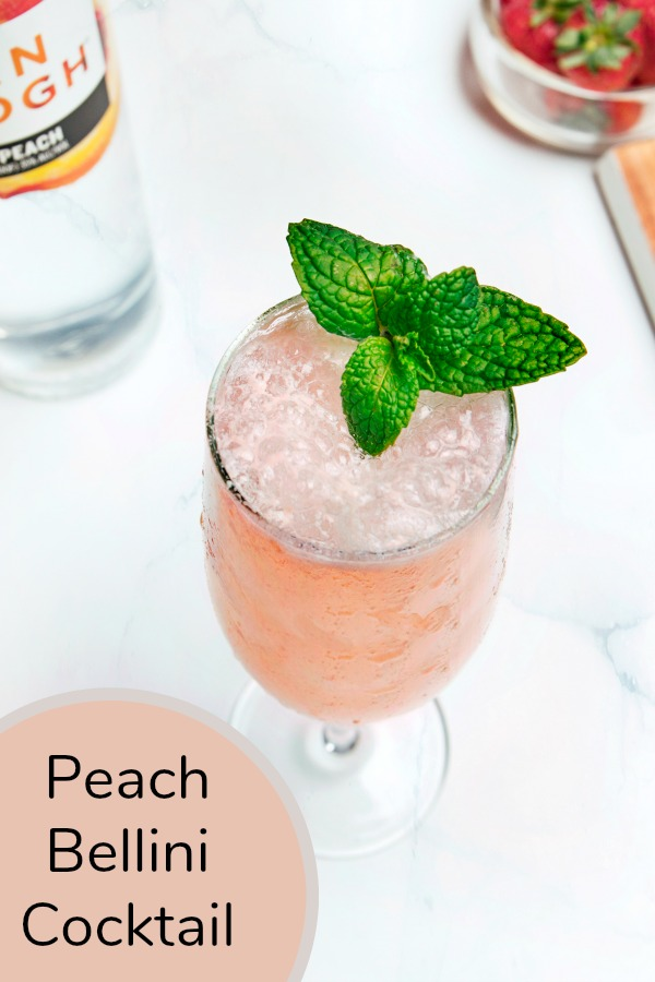 Easy to make, but oh so showy, this Peach Bellini is a classic cocktail. This drink recipe is perfect for brunch, wedding, or any festive occasion.