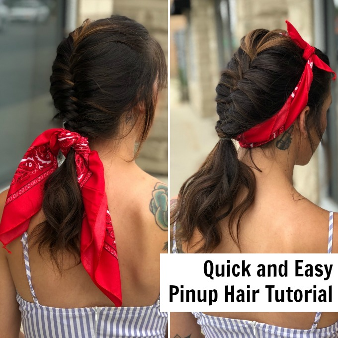 Get this great pinup look quickly and easily. | Easy hair tutorial | Fishtial braid how to | #hair #beauty #fashion #braids