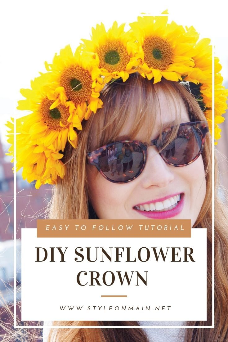Learn how to make a gorgeous sunflower crown headpiece that uses fresh flowers. This is perfect for summer gatherings, bridal parties, or even a casual wedding. | Flower crown | Party | Head Piece |