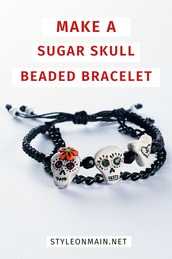 How to make a sugar skull bracelet. Includes directions for a macrame bracelet with cord as well as polymer clay beads. A great DIY project that's fun for all ages. | Halloween | Day of the Dead | Dia de los Muertes