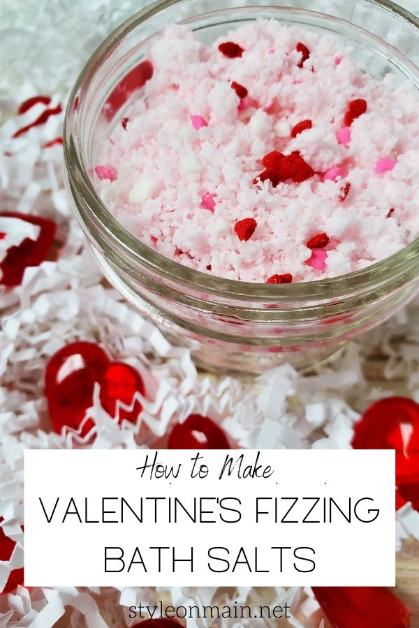 These easy to make fizzing bath salts are the perfect Valentine's Day DIY project. They're practically failproof, even if you're not great at DIY.  They're economical for a class project, and make a great gift too.