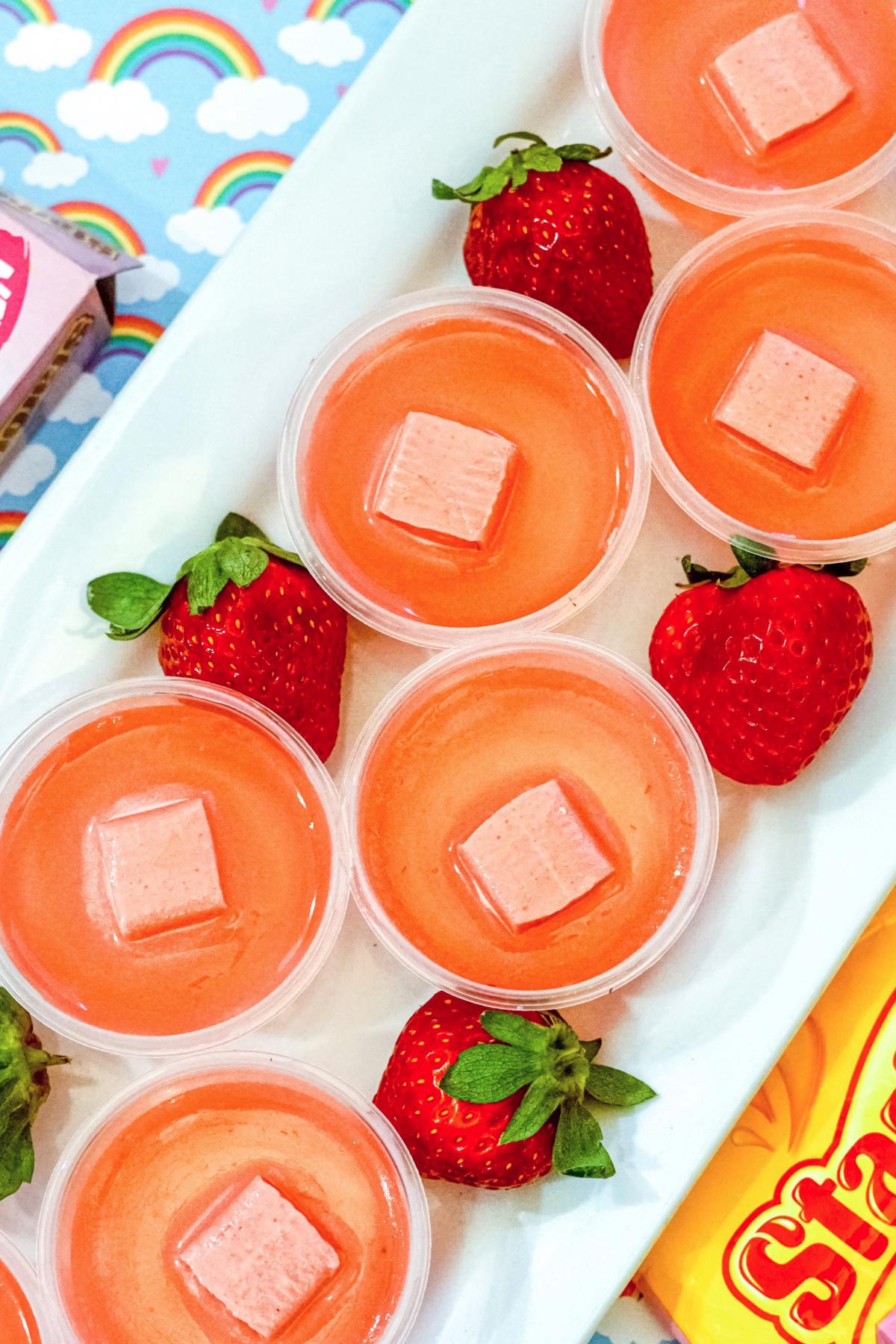 Pink Starburst Jello shots recipe